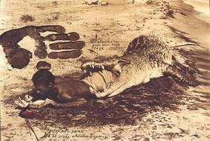 Peter Beard - writing diary in crocodile