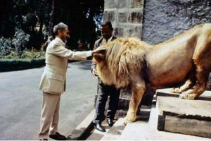 Haile Selassie I with lion