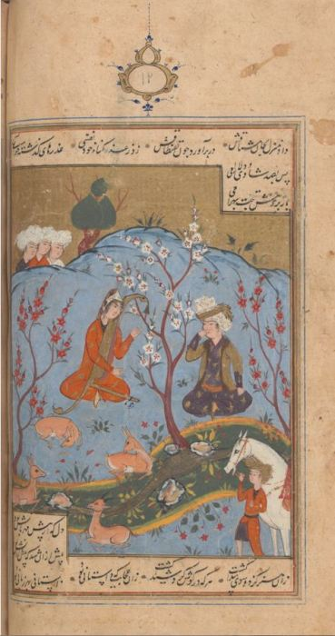 Bahram Gur listens as Dilaram enchants the animals. From a manuscript of Amir Khusrau, Khamsa (Quintet), dated AH 1007-08 (1599–1600 AD) State Library of Victoria