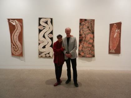 In the Aboriginal bark painting section of my exhibition with Jenny Kee who was Guest Speaker at the opening.