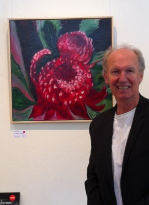 "At Jenny Kee's recent exhibition ""Expressions of Waratah"" with the painting 45 Million Years of Beauty"