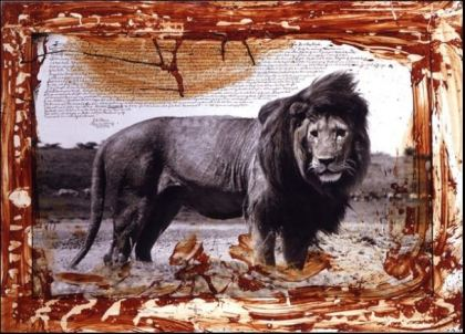 Serengeti Lion by Peter Beard. Gelatin silver print with blood and ink