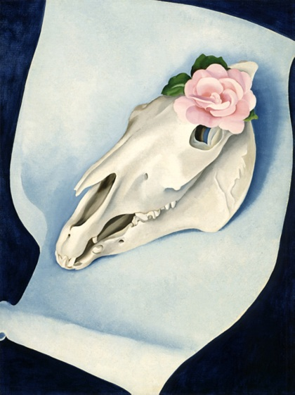 Horse's skull with pink rose by Georgia O'Keeffe 1931 detail (LACMA)