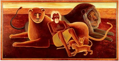 GEORGE ADAMSON DIED IN 1989 PROTECTING THE ANIMALS HE BELIEVED SHOULD BE FREE, 1990, oil on canvas, by Bob Marchant