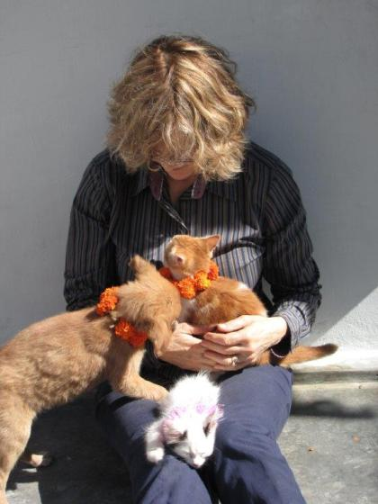 Christine Townend at the Darjeeling Animal Shelter 2010 Photograph by Ace