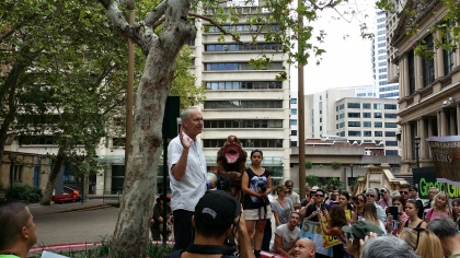 Ace speaking at the March in Sydney