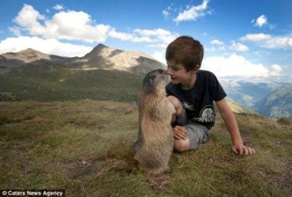 Boy and marmot