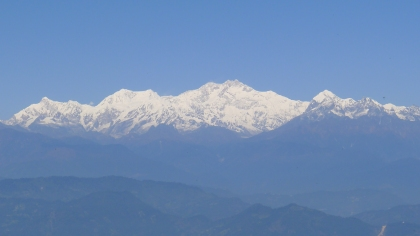 Mount Kanchenjunga the third highest mountain in the world, as seen from Darjeeling (photograph Ace Bourke, 2010).