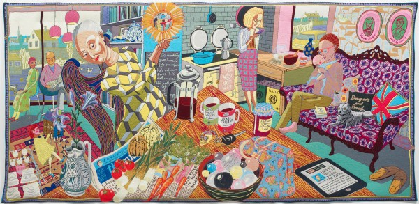 The Annunciation of the Virgin Deal by Grayson Perry, 2012. Jaquard woven tapestry in wool, silk, cotton, acrylic and polyester, With cotton warp.